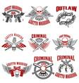 outlaw criminal street warrior emblems design vector image