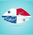 panama flag lipstick on the lips isolated on a vector image