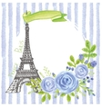 Paris vintage cardEiffel towerWatercolor blue vector image
