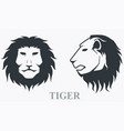 tiger head front view and side view vector image