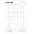 January 2017 Print Template Monthly vector image