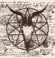 with skull of goat and pentagram vector image vector image