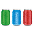 different color aluminium cans with water drops vector image