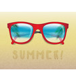 sunglasses reflecting tropical landscape vector image