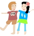 Cute boy and girl isolated on white background vector image