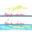 air and water pollution from plant vector image