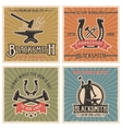 Blacksmith Retro Icon Set vector image