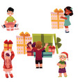 kids children and christmas birthday presents set vector image