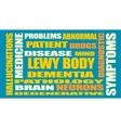Lewy body dementia relative words list vector image