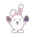 rabbit holding easter eggs design vector image