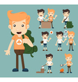 Set of camping boy character eps10 format vector image