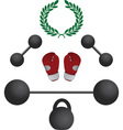 weights and boxer gloves fourth variant vector image vector image