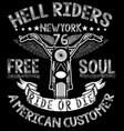 motorcycle tee graphic design vector image