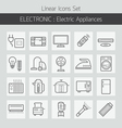 Electric Home Appliances Line Icons Set vector image