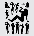 Drinking male and female silhouettes vector image