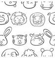 Pattern animal head very cute vector image