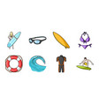 surfing and extreme icons in set collection for vector image