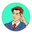Thinking businessman pop art retro style vector image