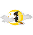 witch flying on magic broom vector image