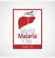 world malaria day icon vector image