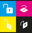 unlock sign   white icon with vector image
