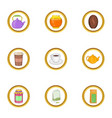 morning drinks icon set cartoon style vector image