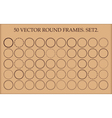 Set of 50 round frames in different styles vector image