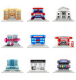 Town buildings icons set vector image vector image