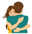 attractive young hispanic woman hugging her man vector image
