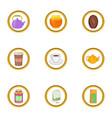 morning drinks icon set cartoon style vector image