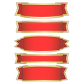 set of 5 red ribbon banners vector image