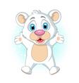 cute little Polar bear cartoon waving vector image vector image