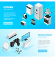 household appliances horizontal banners vector image