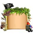 Pirate Scroll with Palm vector image