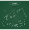 europe map outline stroke on green background vector image