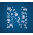 Letter N font frosty snowflakes vector image