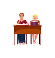 people man and woman reading books in library vector image