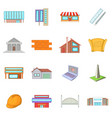 architecture items icons set cartoon style vector image