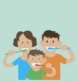 mom dad son to brush their teeth vector image