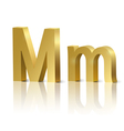 Golden letter M vector image vector image