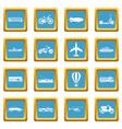 transportation icons azure vector image