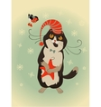 Curious cat and bullfinch celebrate Christmas vector image