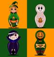 set of dolls halloween vector image