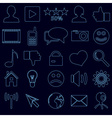 web and social networks set of simple outline vector image