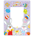 Easter border with bunnies vector image vector image