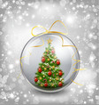 Christmas card with snow snowflakes globe and vector image
