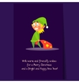 Christmas Elf carrying Present Bag Flat vector image