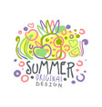 summer logo template original design colorful vector image