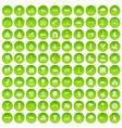 100 kids games icons set green circle vector image