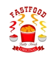 Fast food chicken nuggets emblem vector image